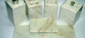 White Onyx Square Bath Accessories