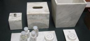 Gray-White Marble Bath Accessories