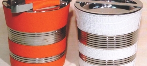 Croco White & Orange Pebbled Faux Stainless Steel ice Buckets