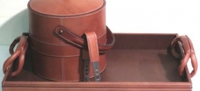Brown Leather w/Strap Detail Executive Bar Set