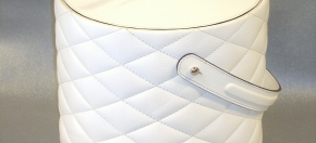 Quilted White Leather Ice Bucket