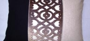 Laser-cut Cowhide, Cotton & Suede Pillow