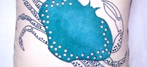 Turquoise Laser-cut Cowhide on Cotton Pillow