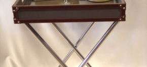 Stainless Steel, Fabric & Leather Bar Stand
