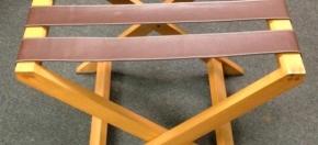 Executive Size Teakwood & Leather Luggage Rack