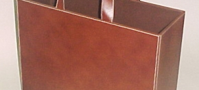 Brown Leather & White Stitch Mag Tote