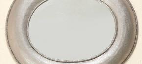 Matte Nickel Finish Oval Hammered Mirror
