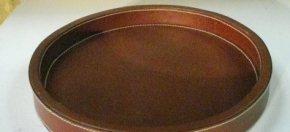 Round Leather Tray w/contrast stitch details
