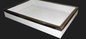 White Croco Tray w/Stainless Steel Trim