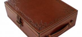 Debossed Leather Amenity Box