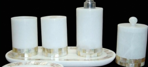 White Marble & Gold Stone Trim Bath Collection