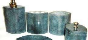 Blue-Green Marble Elliptical Bath Accessories