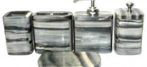 Black & Gray Marble Bath Set