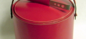 Red Leather Ice Bucket & Tongs
