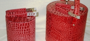 Matte Red Leather Croco-debossed Ice Buckets