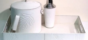 White Leather Ice Bucket, Cocktail Shaker & Bar Tray