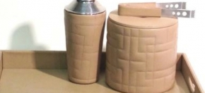 Quilted Tan Leather Ice Bucket, Cocktail Shaker & Tray