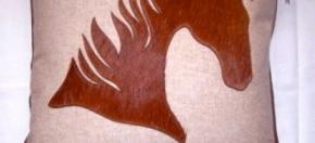 Cotton Pillow w/Laser-cut Cowhide Horse