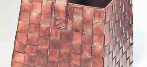 Woven Leather Magazine Basket
