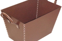 Whip Stitched Brown Leather Magazine Basket