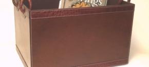 Brown Leather with Croco Trim Magazine Box