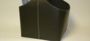 Dark Brown Leather Buckled Magazine Basket