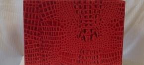 Red Croco Leather Magazine Tote