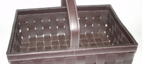 Woven Leather Basket