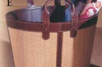 Woven Seagrass & Leather Magazine Basket