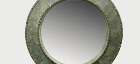 Distressed Green Leather & Brass Stud Mirror