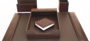 Brown Croco Leather Desk Accessories