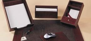 Mahogany Croco Leather Desk Accessories