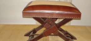 Two-toned Leather & Teakwood Ottoman
