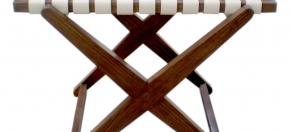 Woven Leather Top teakwood Ottoman/Stool