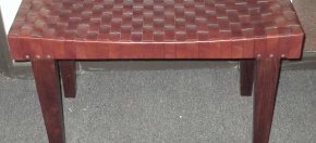 Woven Leather Scallop-top Bench