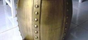 Matte Gold Ceramic Stool