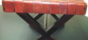 Woven Leather & Wood Ottoman/Table
