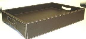 Brown Faux Leather Turndown tray