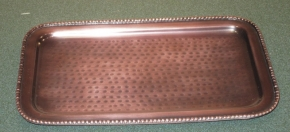 Rounded EdgedHammered Antiqued Copper Finish Tray