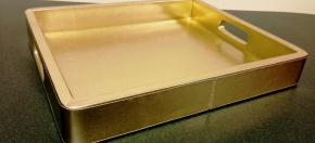 Gold Faux Leather Amenity Tray