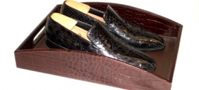 Shoe Tray in Cordovan Croco Leather