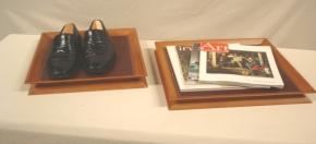 Teak & Leather Presentation Pedestal Trays