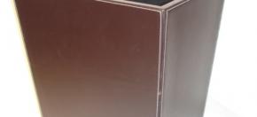Chocolate Leather & Contrast Stitch Executive Wastebasket