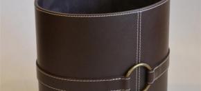 Chocolate Leather Oval Wastebasket w/Decorative Strap & Brass Ring