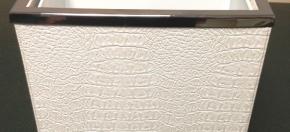 White Croco & Stainless Steel Wastebasket